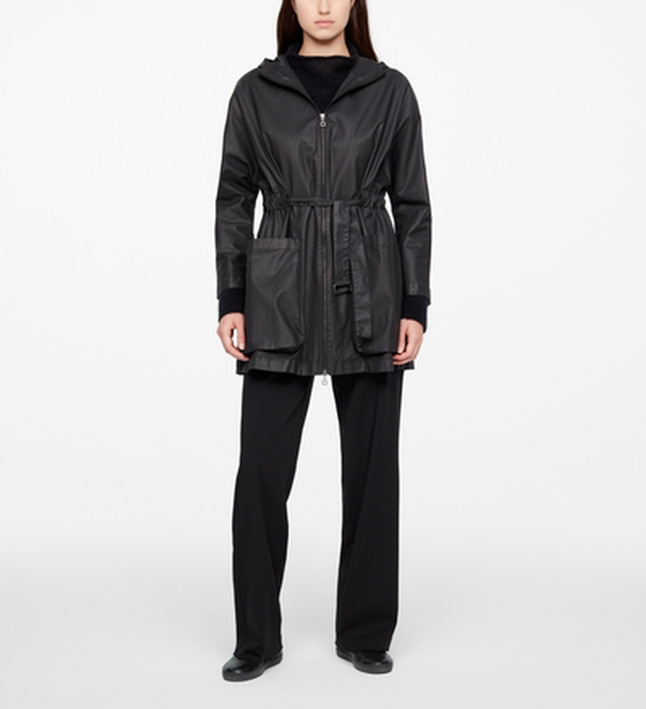Sarah Pacini BLACK PARKA - COATED FINISH Front