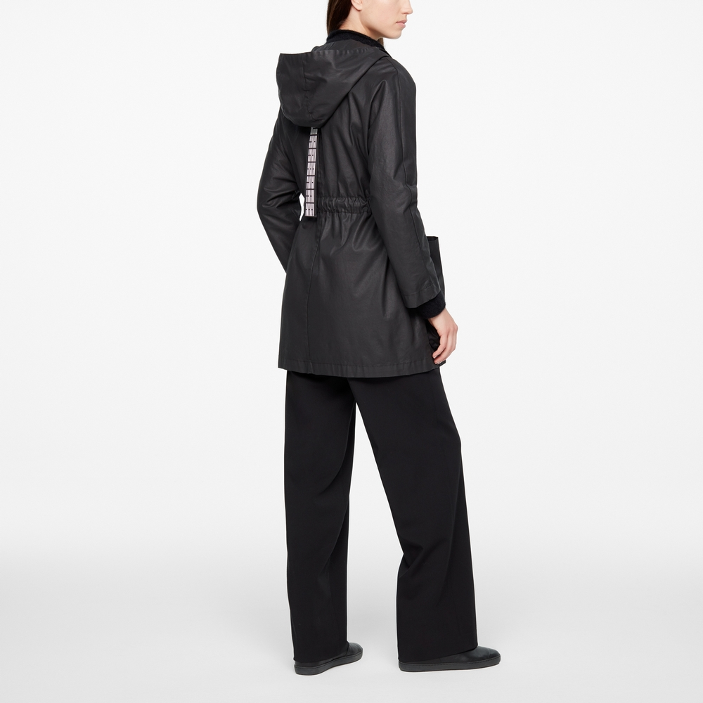 Sarah Pacini BLACK PARKA - COATED FINISH Back view