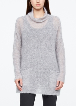 Sarah Pacini LONG MOHAIR SWEATER - POCKETS Front