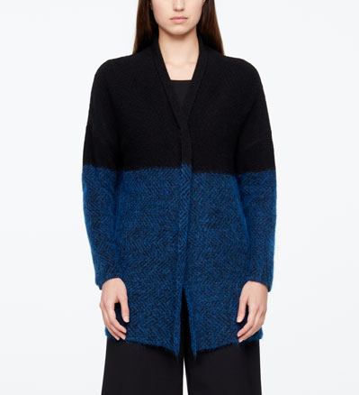 Sarah Pacini LONG CARDIGAN - CHEVRONS De face