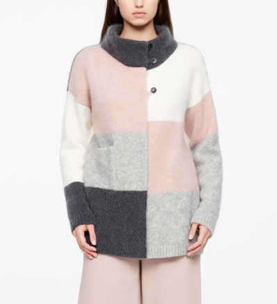 Sarah Pacini CARDIGAN LONG - COLOR BLOCK De face