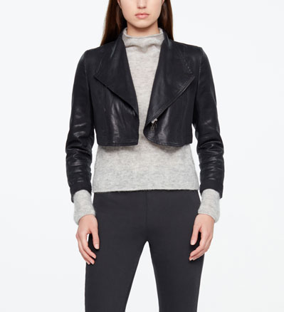 Sarah Pacini SHORT JACKET - LEATHER SHEEN Front