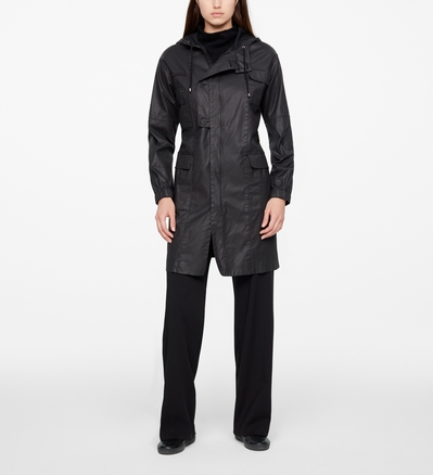 Sarah Pacini LONG PARKA - COATED FINISH Front