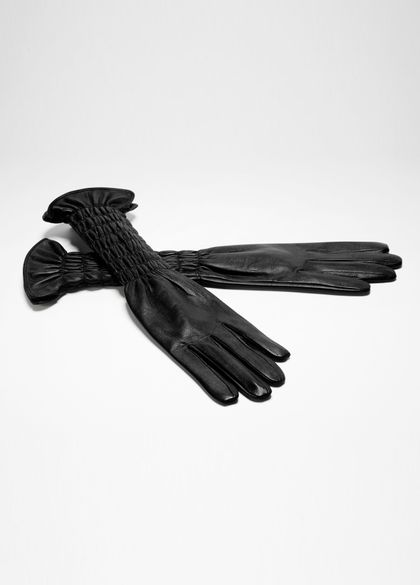 Sarah Pacini LONG LEATHER GLOVES - SMOCKED WRISTS