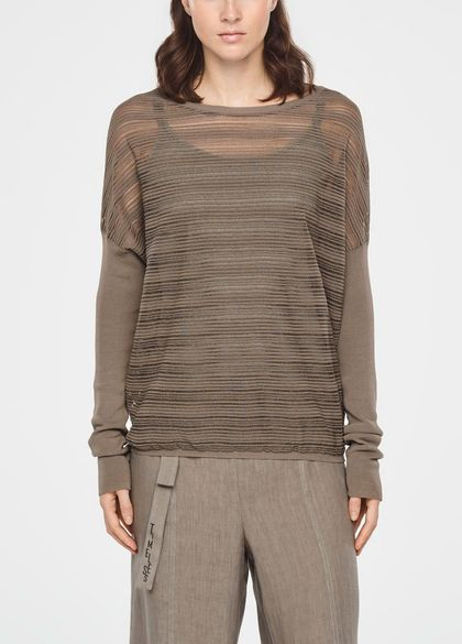 Sarah Pacini TRANSLUCENT STRIPED SWEATER - LONG SLEEVES