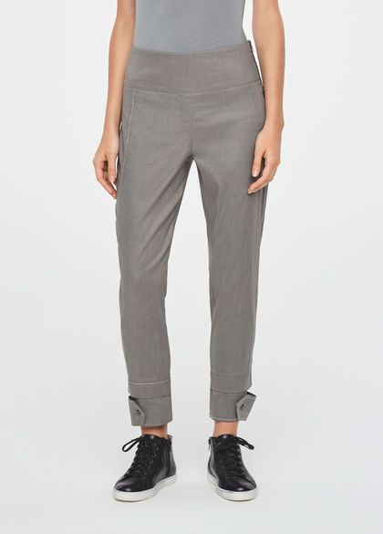 Sarah Pacini CROPPED LINEN PANTS WITH CUT-OUTCUFFS