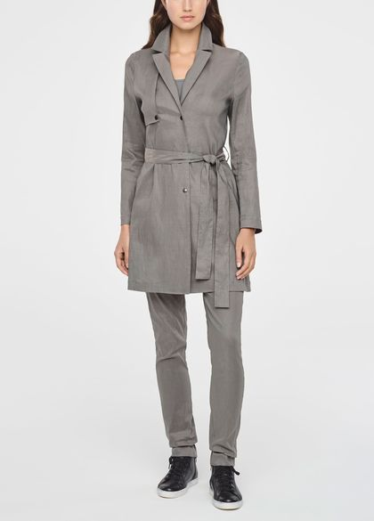 Sarah Pacini SINGLE-BREASTED LINEN TRENCH COAT