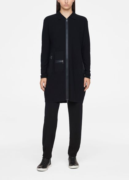 Sarah Pacini LONG CARDIGAN - ZIPPER DETAILS