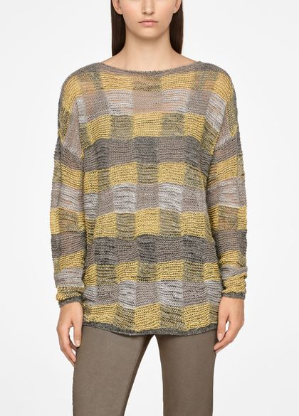 Sarah Pacini LONG LINEN SWEATER - CHECKERED