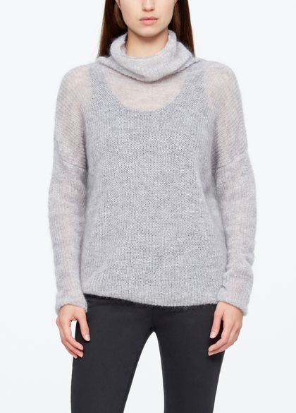 Sarah Pacini MOHAIR SWEATER - FUNNEL NECK