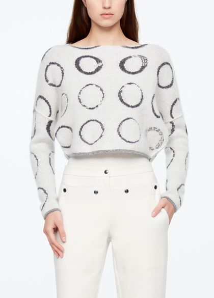 Sarah Pacini CROPPED SWEATER - CIRCLE MOTIF