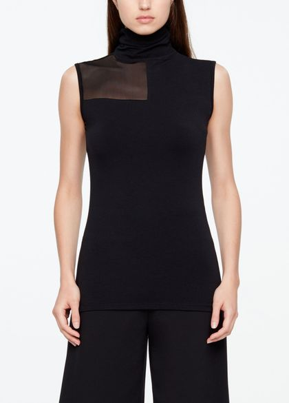 Sarah Pacini SLEEVELESS TOP - MESH DETAIL