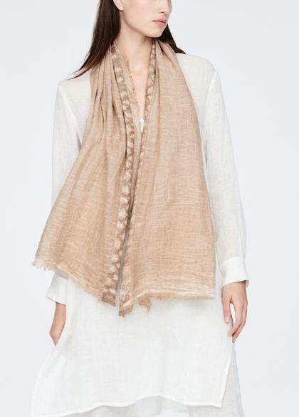 Sarah Pacini Fine cotton scarf - appliqué