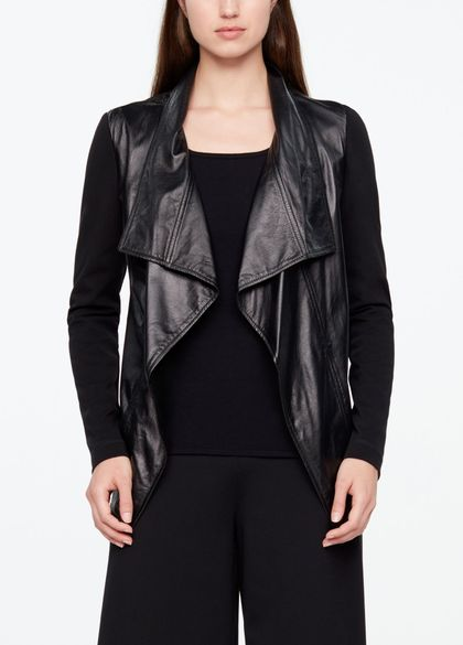 Sarah Pacini LEATHER JACKET - OPEN STYLE