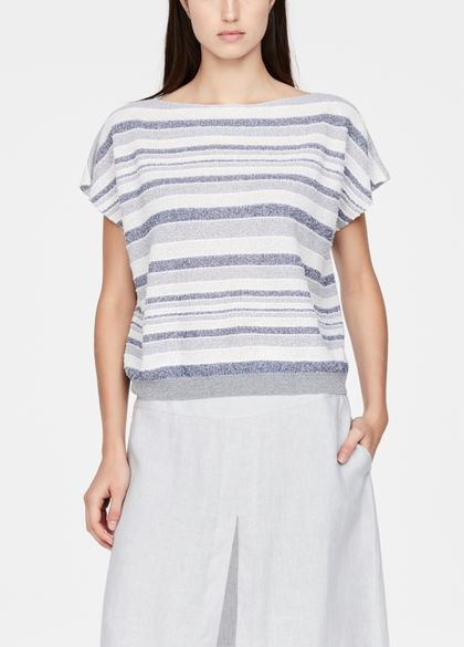 Sarah Pacini Cap sleeve sweater - faded stripes