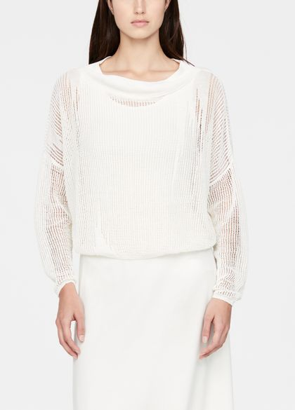 Sarah Pacini Perforated linen sweater - full sleeves