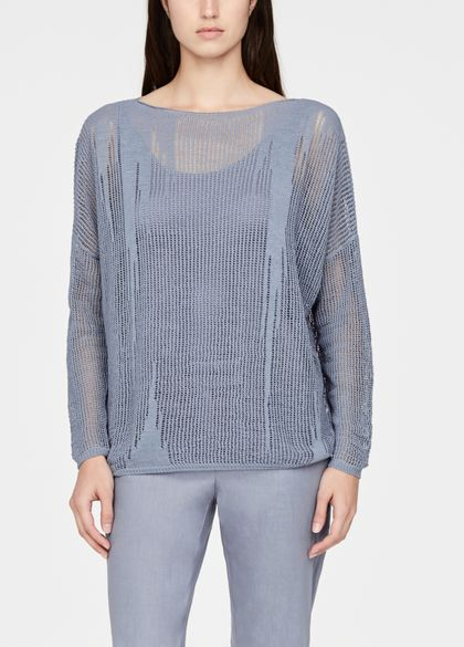Sarah Pacini Perforated linen sweater - boatneck