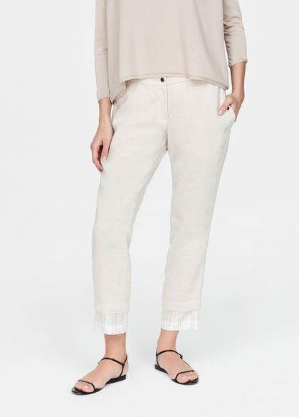 Sarah Pacini Linen pants - layered hem