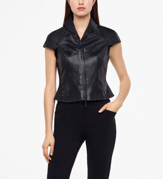 Sarah Pacini LEATHER JACKET - CAP SLEEVES