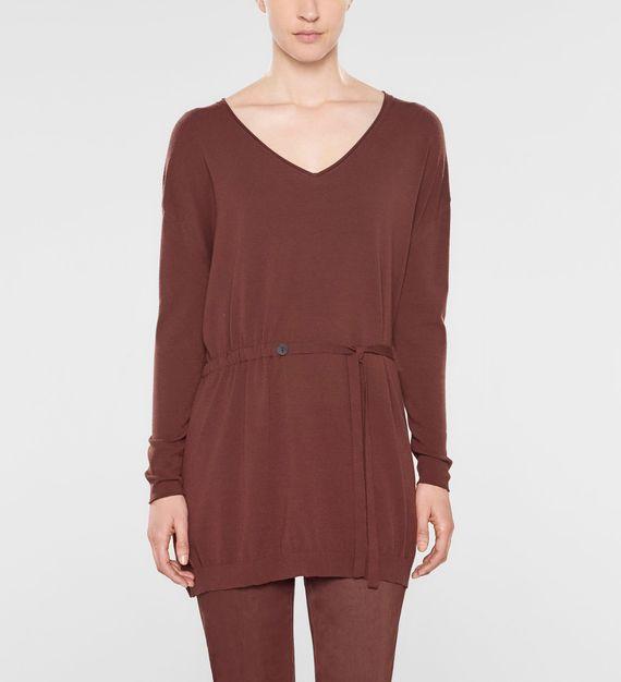 Sarah Pacini Langer sweater mit v-ausschnitt und weichem gürtel