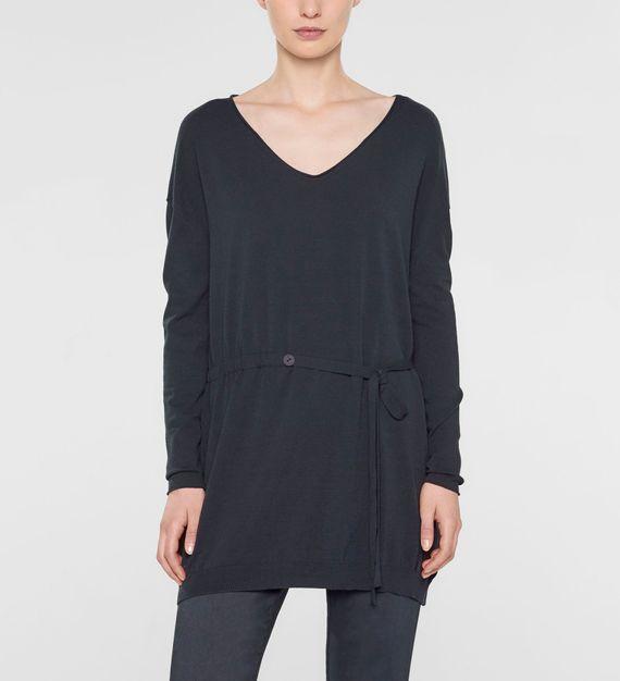 Sarah Pacini V-neck long sweater with soft belt