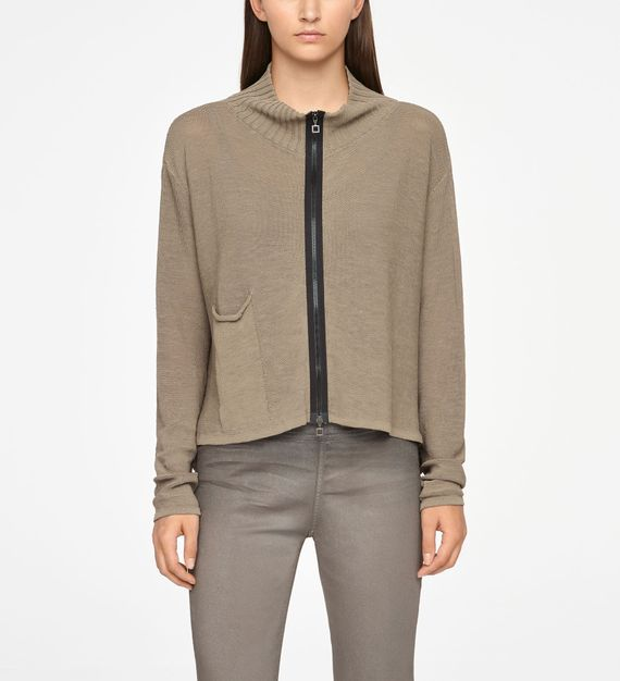 Sarah Pacini LINEN CARDIGAN - PATCH POCKETS