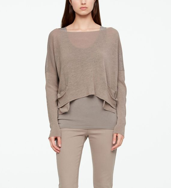 Sarah Pacini LINEN SWEATER - SLIT POCKETS